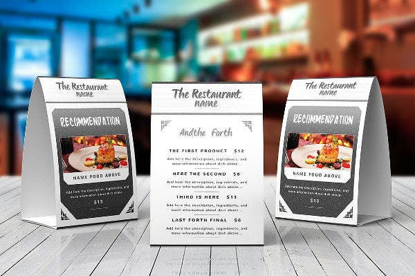 Elegant Food Menu Table Tent & 27+ Beautiful Table Tent Mockups | Free u0026 Premium Templates