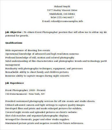 event photographer resume sample - Photographer Resume