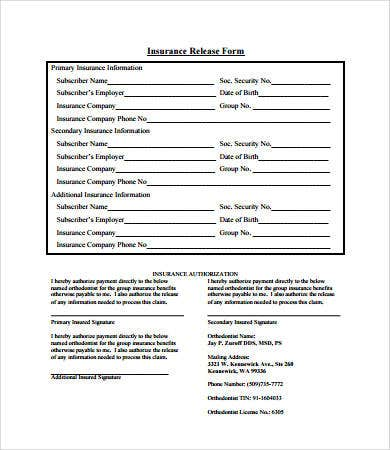 insurance release form template