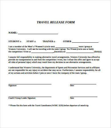 travel release form template