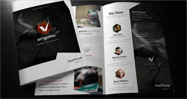 Origami Bi Fold Brochure Template