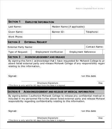 Reference Release Form Printable Reference Check Template Sample