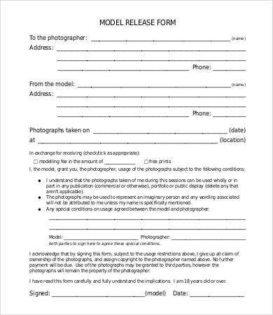 Photography Model Release Form Standard Model Release Form For