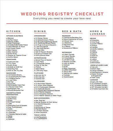 printable wedding registry checklist