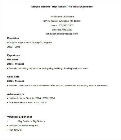 Sample High School Graduate Resume No Experience