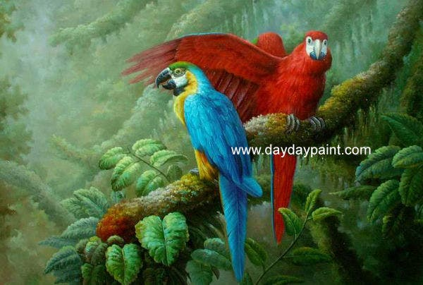 Parrots Sitting on Branch