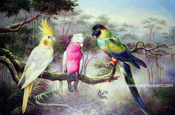 Painting of 3 Parrots