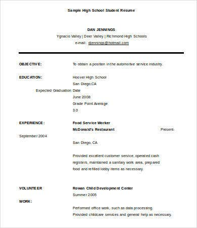 Lovely High School Graduate Student Resume Sample