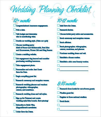 Printable Wedding Checklist - 9+ Free Pdf Documents Download