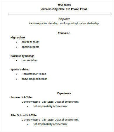 resume templates for high school graduates