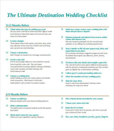 Printable Destination Wedding Checklist
