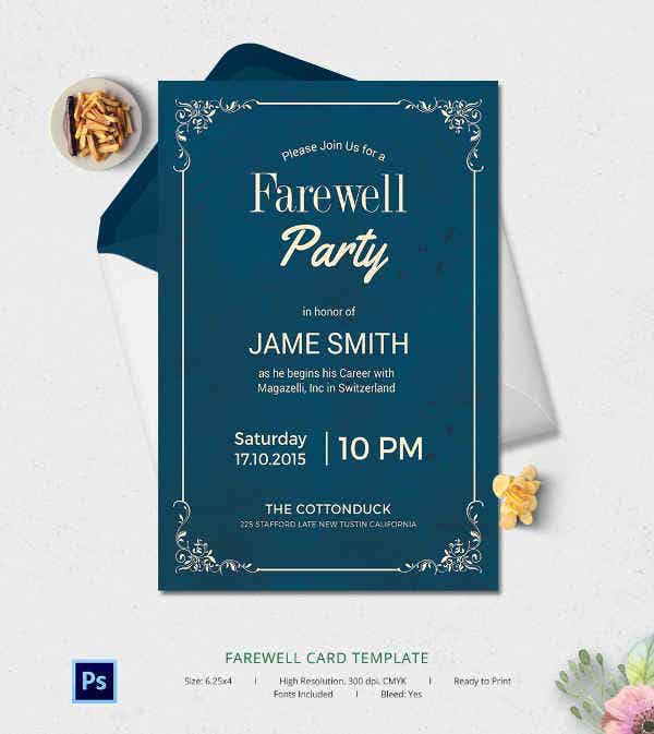 6+ Free Farewell Card Templates - Invitation, Graduation | Free