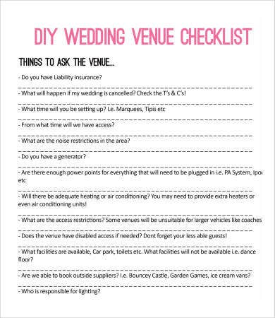 Printable Wedding Checklist   Free Pdf Documents Download