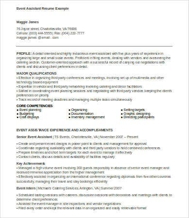 Resume For Event Planner