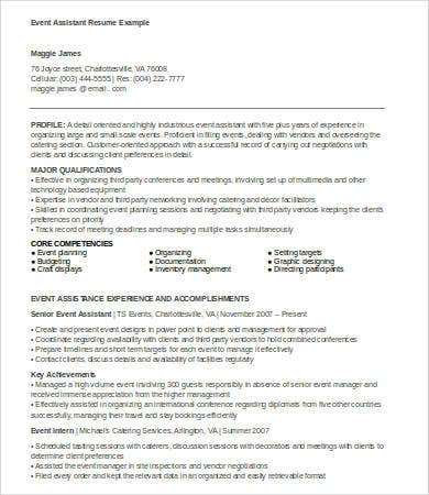 6 event planner resumes free sle exle format