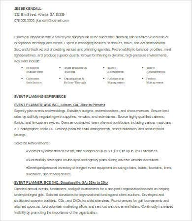 6 event planner resumes free sample example format free
