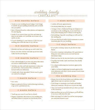 printable wedding beauty checklist