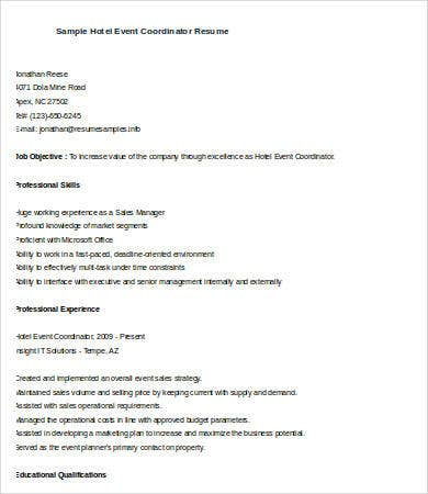 download - Event Planner Resume