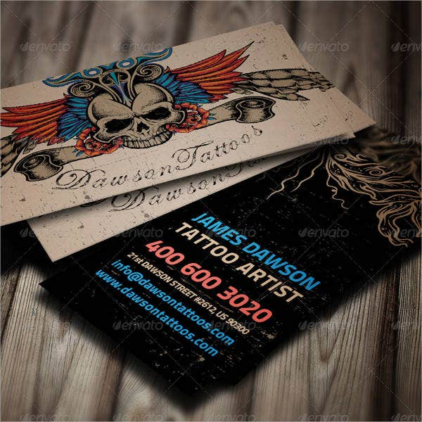 Artists business cards 9 free psd vector ai eps for Tattoo business card templates