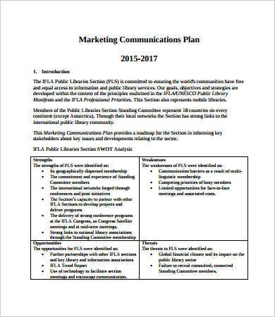 marketing communication plan sample