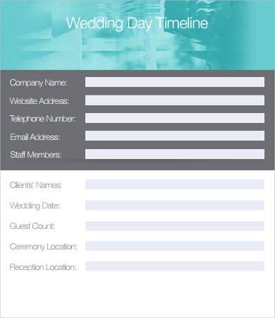 printable wedding day timeline