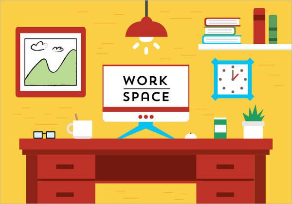 flat design workspace vector