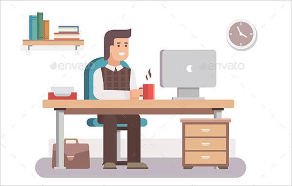 employee workspace vector