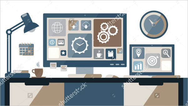 workspace-desiger-desk-vector