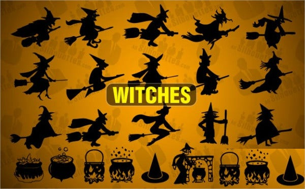 Free Witch Vector Silhouette