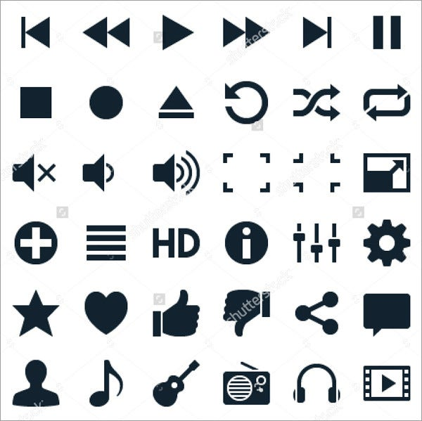 audio-and-video-player-icons