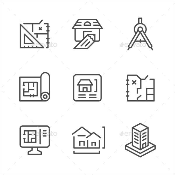 Set of Line Architecture Icons