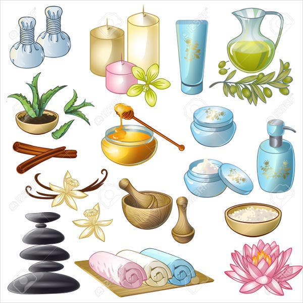 salon decorative icons set