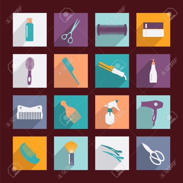 hair salon tools icons