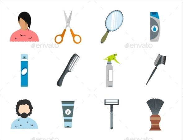 flat hair salon icons set