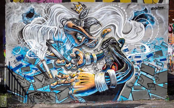photorealistic graffiti painting