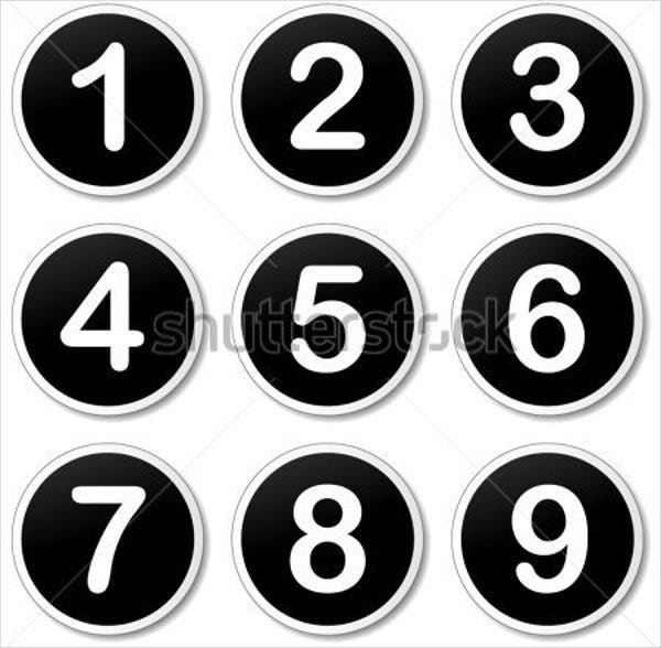 white number stickers