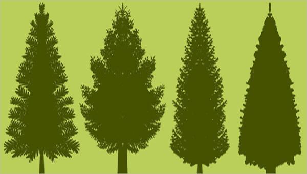 pine tree silhouette vectors