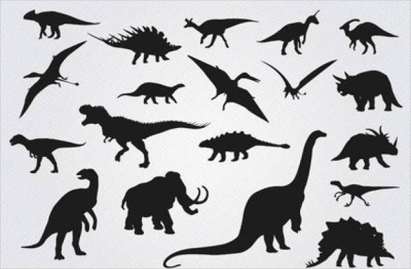 photograph relating to Free Printable Silhouettes known as 9+ Wild Dinosaur Silhouettes No cost High quality Templates