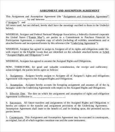 Assignment Agreement Template - 9+ Free Word, Pdf Format Download