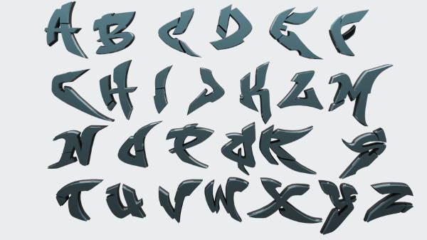 3D-Graffiti-Alphabet-Letters1  D Letter M Template on printable box, cut out,