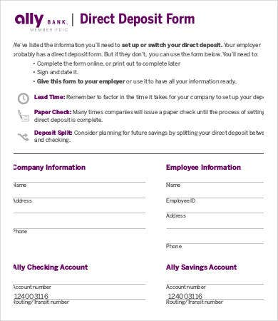 Bank Direct Deposit Form Template