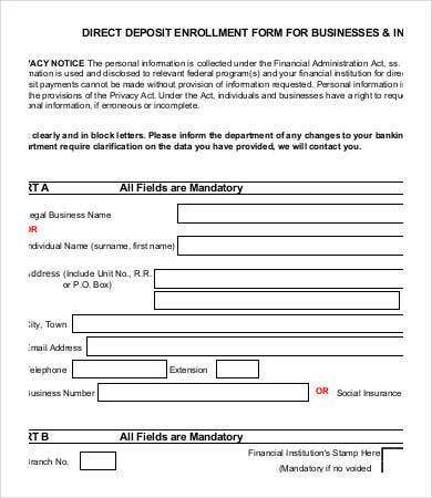 sample direct deposit form canada  Direct Deposit Form Template - 12+ Free PDF Documents ...