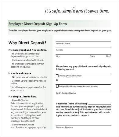 Employer Direct Deposit Sign Up Form Template