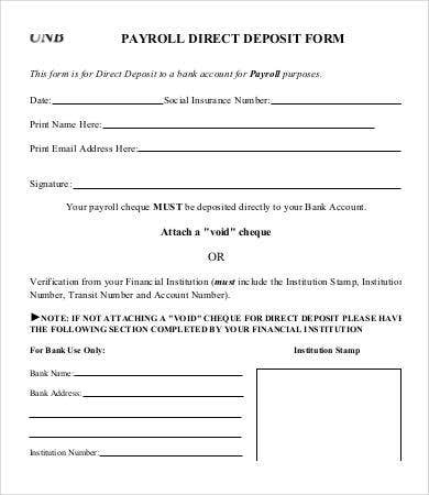 Direct Deposit Form Template   Free Pdf Documents Download