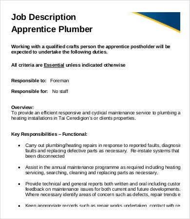 apprentice plumber job description - Job Description Of Neurologist