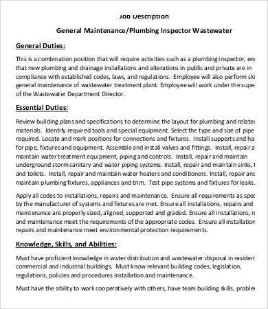 Plumber Job Description   Free Pdf Format Download  Free