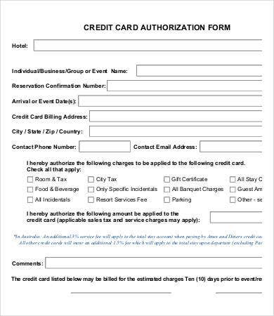 Credit Card Form Sample Credit Card Authorization Form Credit