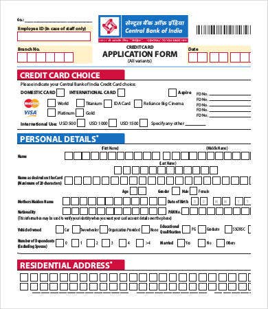 sample credit card application Credit Card Form Template - 9  Free Sample, Example, Format | Free ...