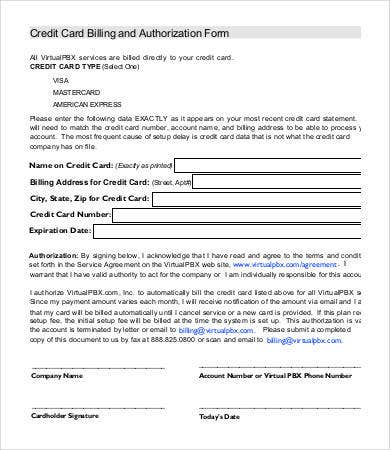 Credit Card Authorization Forms Rd Party Credit Card Authorization