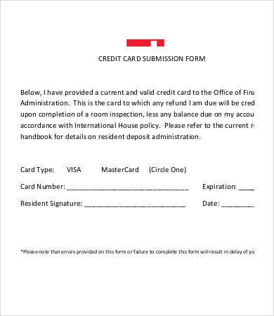 Credit Card Form Template   Free Sample Example Format  Free